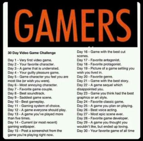 30 Day Gamer List Challenge